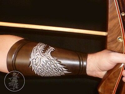 Hand Carved Leather Archery Bracer, Armguard. Game of Thrones, House Of Stark