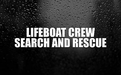 Lifeboat Crew RNLI Search Rescue Sticker Car Window Sticker Decal Emergency