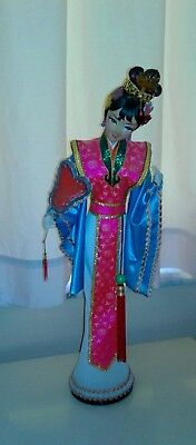 1970s HK Vtg traditional geshia chinese china doll large hand made oriental silk