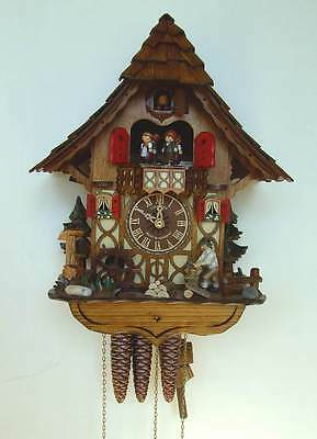 (New!) 30-Hour Musical Cuckoo Clock Wood Chopper Water Mill Wheel Schneider