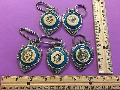 5 Scrimshaw Indian Chief Warrior Woman Geronimo Turquoise Key Rings