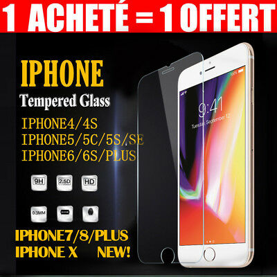 FILM VITRE PROTECTION ECRAN VERRE TREMPE iPhone X XR MAX 4 5 6S 6 7 8 PLUS 9H