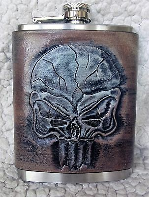 Handmade Leather Flask Cover with 8oz Flask - Punisher Skull