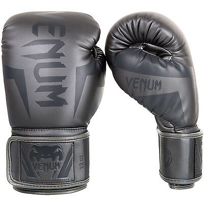 Venum Elite Boxing Gloves Grey Muay Thai MMA Sparring Kickboxing Training Fight