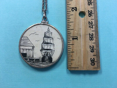Scrimshaw Schooner Returning home docks Large Round Pendant with chain