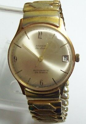 Vintage ANKER DELUXE Automatic Gold Filled Bezel & Band Men's Watch - 25 Jewels