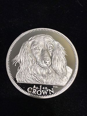 GIBRALTAR - SILVER 1 CROWN PROOF COIN 1993 KM#192.1a DOG LONG HAIRED DACHSHUND