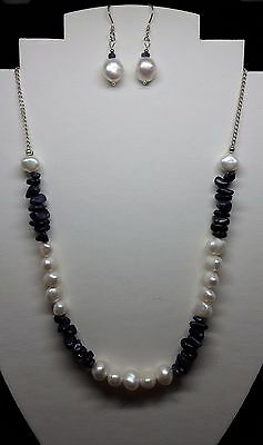 Blue Sapphire & Pearl sterling silver necklace AND earrings - Sept Birthstone