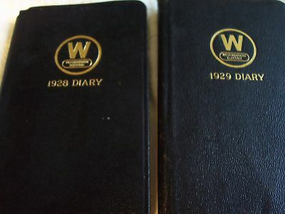 Vintage 1928 & 1929 Westinghouse Pocket Diaries- Leather covers