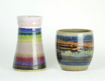 STUDIO POTTERY Hand Thrown VASE & BOWL Colorful Stripes ARTIST SIGNED