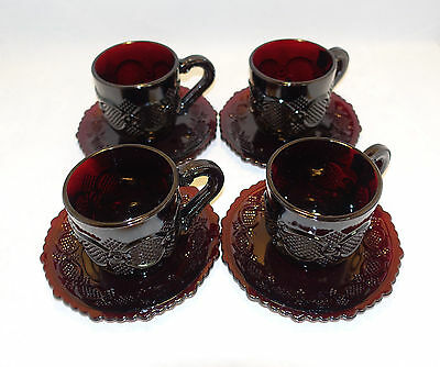 AVON's 1876 Cape Cod Collection Ruby Red Glass COFFEE CUP & SAUCER (4)