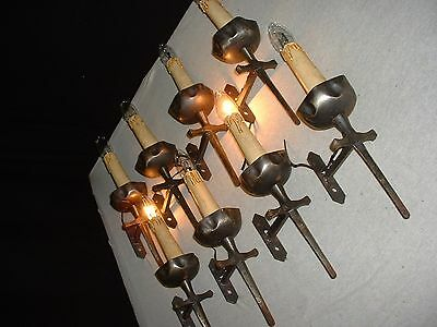 4 pair Vintage French wrought iron sconces Gothic Style matching