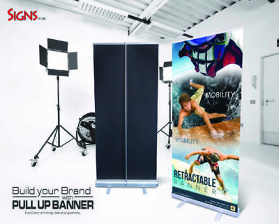 "2 - Aluminum 33""x79"" Retractable Roll Up Banner Stand Pop Up Trade Show Display"