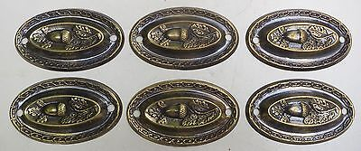 Set of 6 VIntage Acorn Hepplewhite Brass Drawer Pull Plates, by Armac, Engand