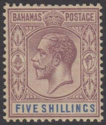 BAHAMAS KGV 1912-19 Issue 5 Shillings Scott 55  SG88  Lightly Hinged cv £40
