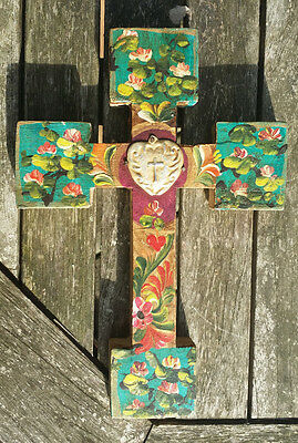 Painted Wood Cross 3D Mexico Handmade Milagro 9x6 Perpetuo Socorro Heart D