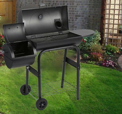 2in1 Charcoal Smoker BBQ Grill Roaster Portable Steel Steamer Charcoal Oven AUS
