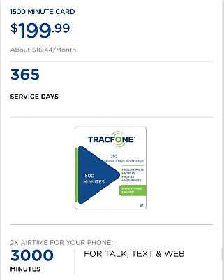 Tracfone 1500 Minutes, 1500 Sms, 1500 Data, 365 Service Days