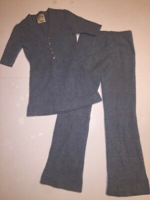 Vintage wool angora Jumpsuit 2 Piece Flare Solid Women's Wool Sz S