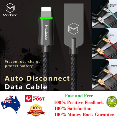 Mcdodo LED Auto Disconnect Lightning data Charging cable For iPhone X/XS 8 7 +