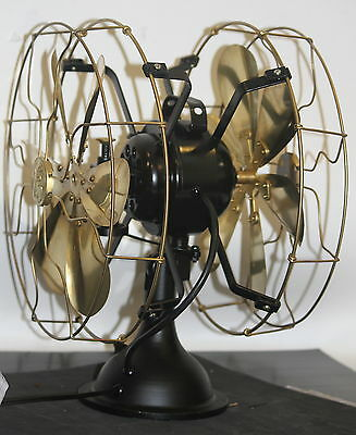 Double 2 two sided electric table fan vintage orbit oscillating brass cage WORKS