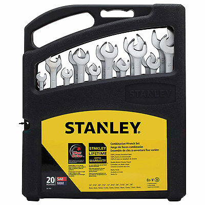 Stanley  Wrench Set 20 pc. Open End Ratcheting SAE Metric Chrome Vanadium Forged