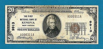 1929 $20 First National Bank of Kenova West Virginia # 9913 Type 1 Fine