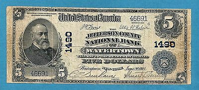 1902 $5 Jefferson County National Bank # 1490 Watertown New York Fine