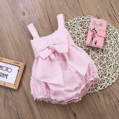 AU Baby Toddler Girl Ruffles Bowknot Romper Princess Dress Kids Jumpsuit Outfits
