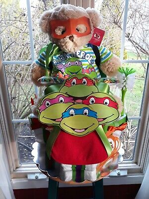 Ninja turtle theme tricycle diaper cake-made to order
