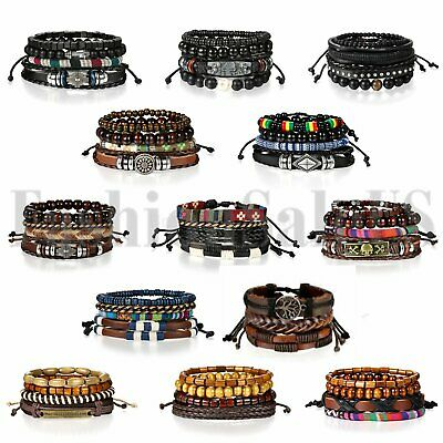 4pcs Leather Lots Bracelets for Men Women Wooden Beaded Bangle Braided Wristband