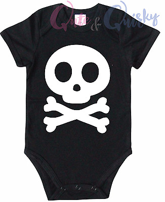 SKULl & Crossbones One Piece romper BABY Suit Girls Boys NEW Custom made 000-0