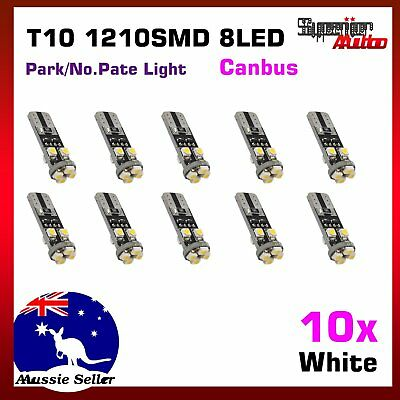 10pcs T10 194 8LED No Error Bright White Interior Roof Footwell Glove Box Lights