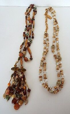 """2 Beaded Belts Necklaces Earth Tone Stones 70"""" Gold Wood 36"""" Vintage Modern Lot"""