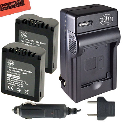 BM Premium Pack of 2 CGA-S006 Batteries and Battery Charger for Panasonic Lumix