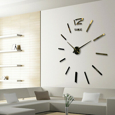 DIY Analog 3D Mirror Surface Large Number Wall Clock Sticker Home Decor