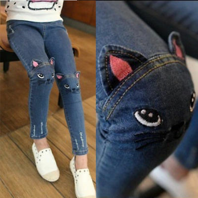 Girl Stretch Tight Pants Jeans Cartoon Cat Embroidery Pants Age 2-7 Years 4828HC