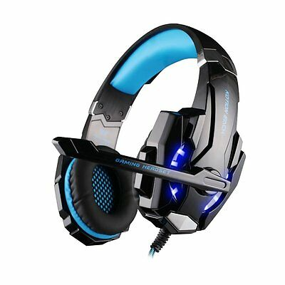 3.5mm Gaming Headset MIC Blue LED Headphones for Laptop PS4 Xbox One S X1 360E B