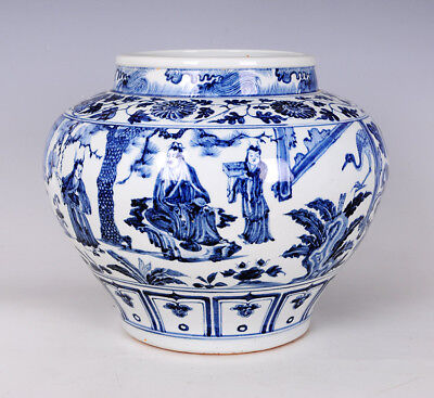 Chinese Blue And White Porcelain Jar Design Figure pot Vase