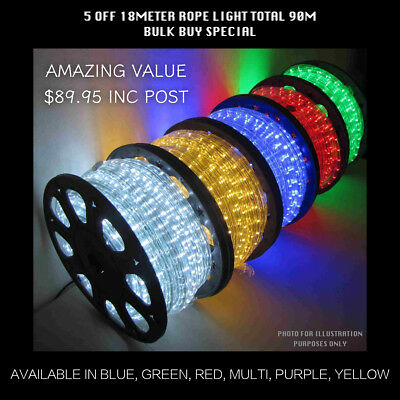 18m x5 Rope Light in Bulk 90m Total, Blue/Green/Red/Yellow/Purple/Multi Color