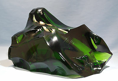 French Baccarat Green Crystal Glass Iceberg Sculpture B. Albert Unique Piece