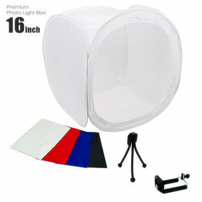 "16"" Photo Studio Photography Light Tent Backdrop Kit Lighting in a Box 40cm Cube"
