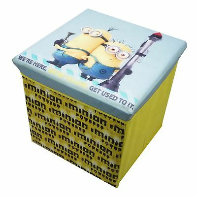 Despicable Me Minions Square Storage Stool Ottoman Toy Chest Holder New