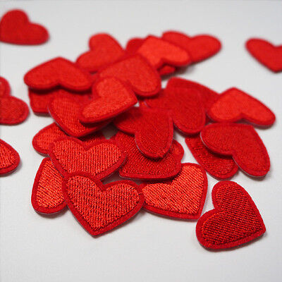 12pcs Embroidery Love Red Heart Sew Iron On Patch Badge Bag Hat Jeans Applique
