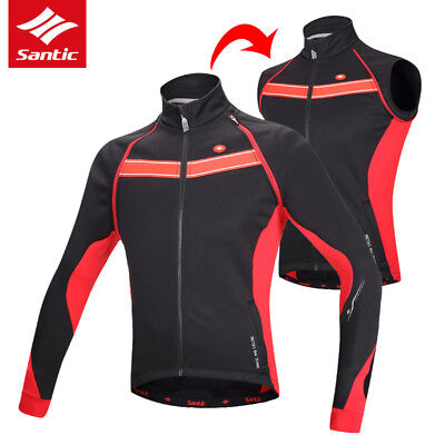 Santic Removable Long Sleeve Cycling Jacket/Vest Fleece Bicycle Bike Wind Coat