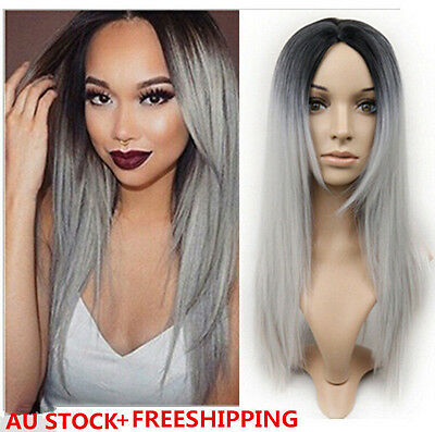 Straight Hair Two Tone Black Root to Grey Ombre Resistant Fiber Synthetic Wigs