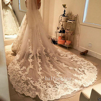 Cathedral Long Wedding Veils 1T Appliques With Comb Bridal White Ivory Lace New
