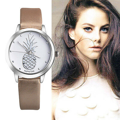 Fashion Women Lady Casual Watch Faux Leather Analog Quartz Wrist Watch Pineapple