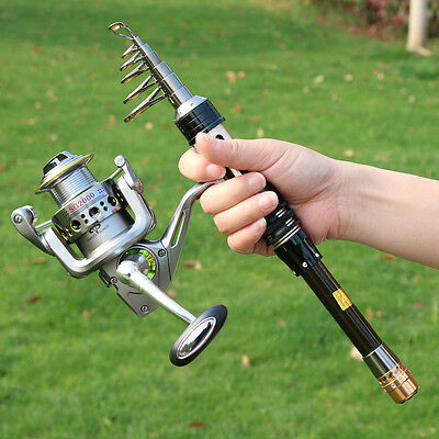 Spincasting Fishing Rod and Reel Combos Set Bass Travel Telescopic Fishing Pole