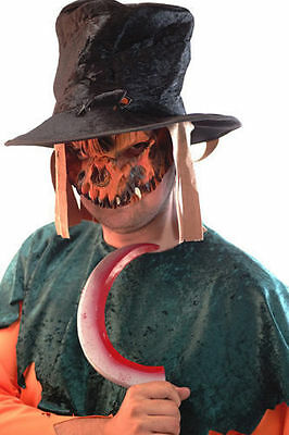 HALLOWEEN/Evil/Creepy/Fancy Dress SCARECROW MASK, HAT & WEAPON SET One Size
